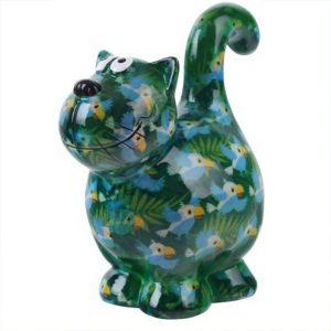 Pomme Pidou Kat Dorothy spaarpot - Groen met vogels