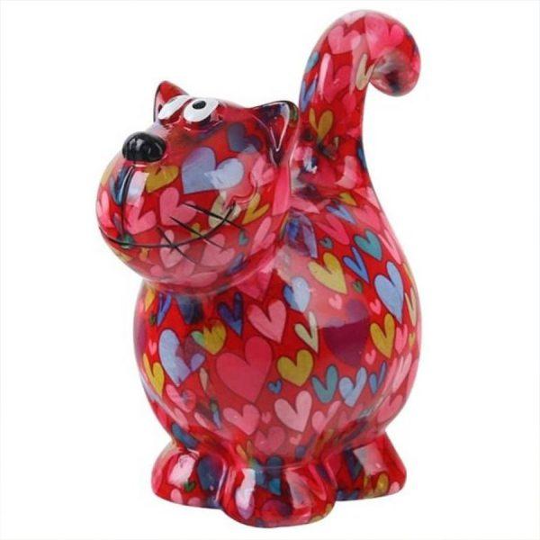 Pomme Pidou Kat Dorothy spaarpot - Rood met hartjes
