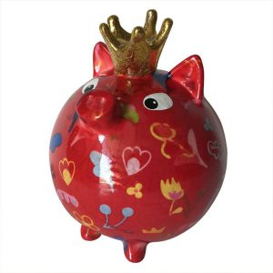 Pomme Pidou Varken Betty spaarpot - Rood met bloemen