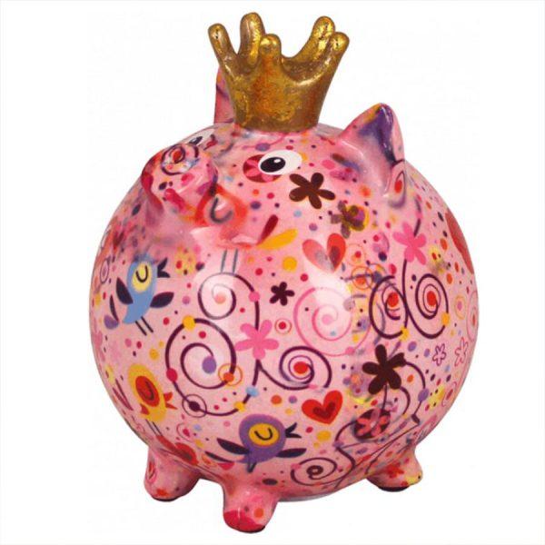 Pomme Pidou Varken Betty spaarpot - Roze met bloemen