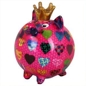 Pomme Pidou Varken Betty spaarpot - Roze met hartjes