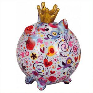 Pomme Pidou Varken Betty spaarpot - Wit met hartjes