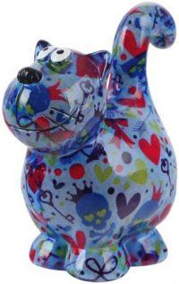 Pomme Pidou Kat Dorothy spaarpot - Blauw met hartjes