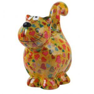 Pomme Pidou Kat Dorothy spaarpot - Geel met hartjes