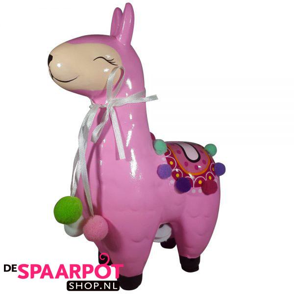Lama spaarpot (roze) 21cm