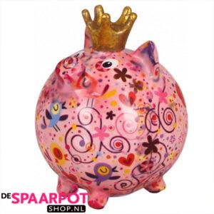 Pomme Pidou Varken Betty Spaarpot L- Roze met bloemen