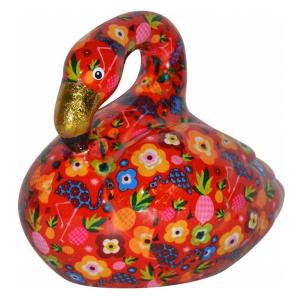 Pomme Pidou Flamingo Lilly Spaarpot - Rood met bloemen