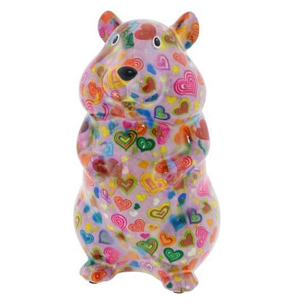 Pomme Pidou Hamster Finn Spaarpot - Roze met hartjes