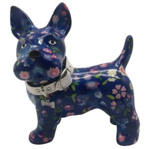 Pomme Pidou Hond Boomer Spaarpot – Blauw met bloemen