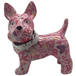 Pomme Pidou Hond Boomer Spaarpot - Roze met hartjes
