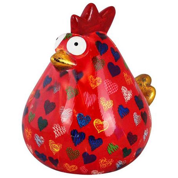 Pomme Pidou Kip Matilda Spaarpot XL - Rood met hartjes