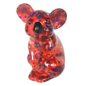 Pomme Pidou Koala Claire Spaarpot - Rood met bloemen
