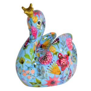 Pomme Pidou Zwaan Grace Spaarpot - Blauw met bloemen