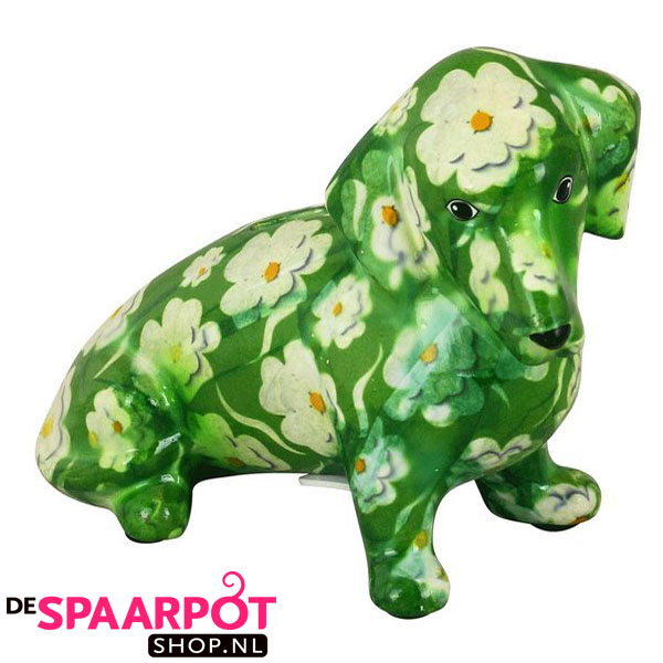 Pomme Pidou Teckel Molly Spaarpot - Groen met Witte bloemen