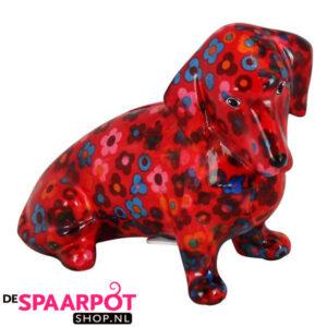Pomme Pidou Teckel Molly Spaarpot - Rood met bloemen