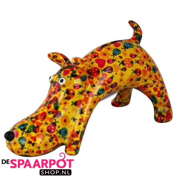 Pomme Pidou Hond Elvis Spaarpot - Geel met lieveheersbeestjes