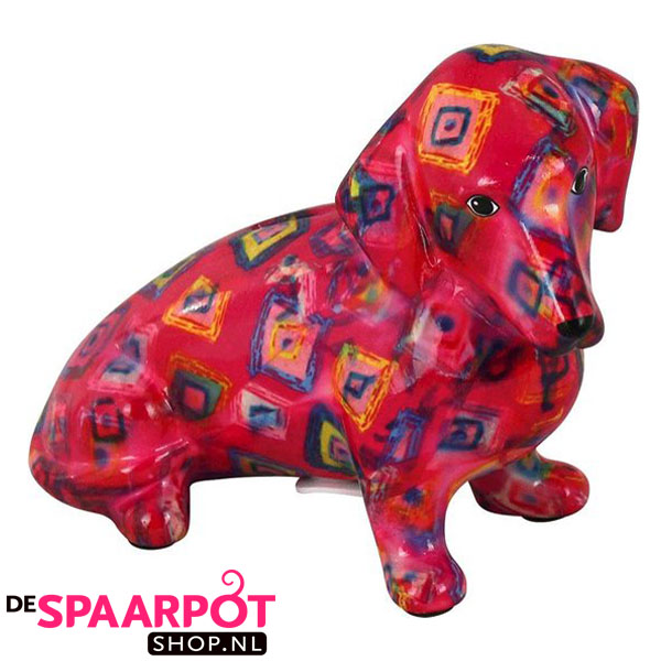 Pomme Pidou Teckel Molly Spaarpot - Roze met ruiten