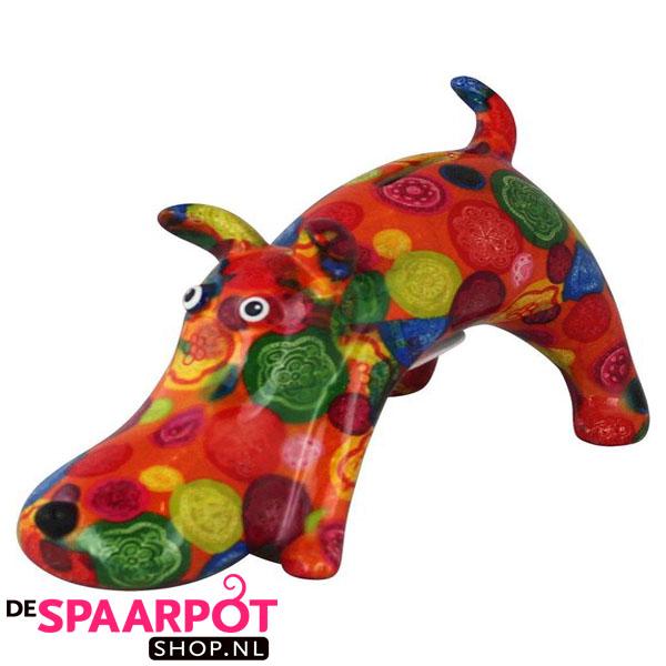 Pomme Pidou Hond Elvis Spaarpot - Oranje met cirkels