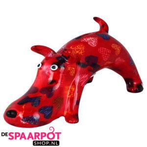 Pomme Pidou Hond Elvis Spaarpot - Rood met hartjes