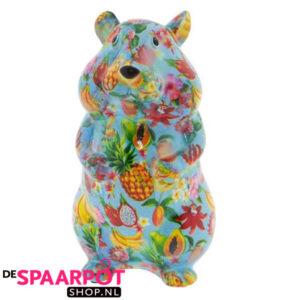 Pomme Pidou Hamster Finn Spaarpot - Blauw met fruit