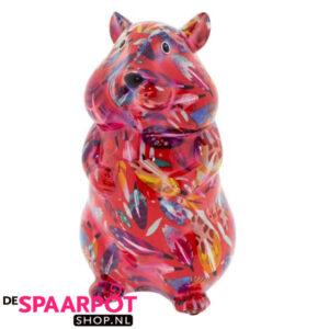 Pomme Pidou Hamster Finn Spaarpot - Rood met veren