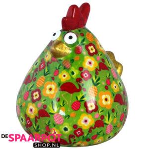 Pomme Pidou Kip Matilda Spaarpot XL - Groen met flamingo's