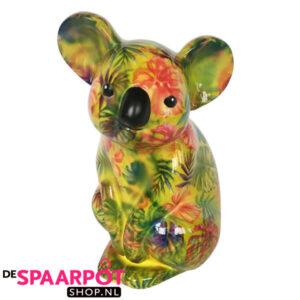 Pomme Pidou Koala Claire Spaarpot - Geel met bladeren