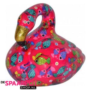 Pomme Pidou Flamingo Lilly Spaarpot - Roze met vissen
