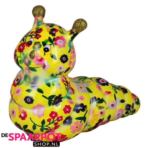 Pomme Pidou Rups Gigi Spaarpot - Geel met bloemen