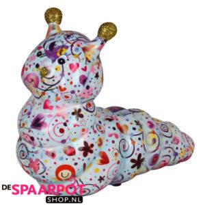 Pomme Pidou Rups Gigi Spaarpot - Pastelblauw met vogels en hartjes