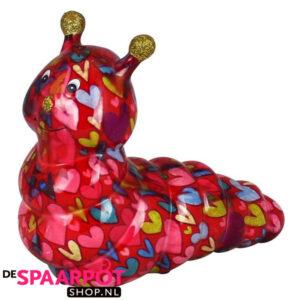 Pomme Pidou Rups Gigi Spaarpot - Rood met hartjes