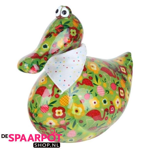 Pomme Pidou Eend Anna Spaarpot - Groen met bloemen en flamingo's