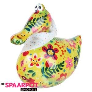 Pomme Pidou Eend Anna Spaarpot - Groen met bloemen met gezichten