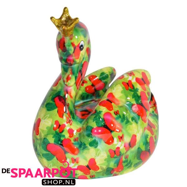 Pomme Pidou Zwaan Grace Spaarpot - Groen met vlinders