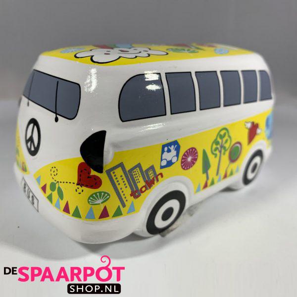 Hippie busje spaarpot met versiering (Geel)