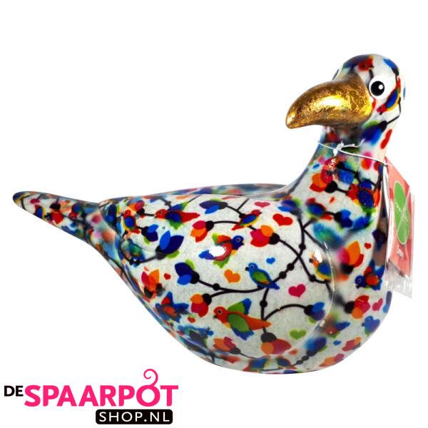 Pomme Pidou Zeemeeuw Simon Spaarpot - Wit met vogeltjes